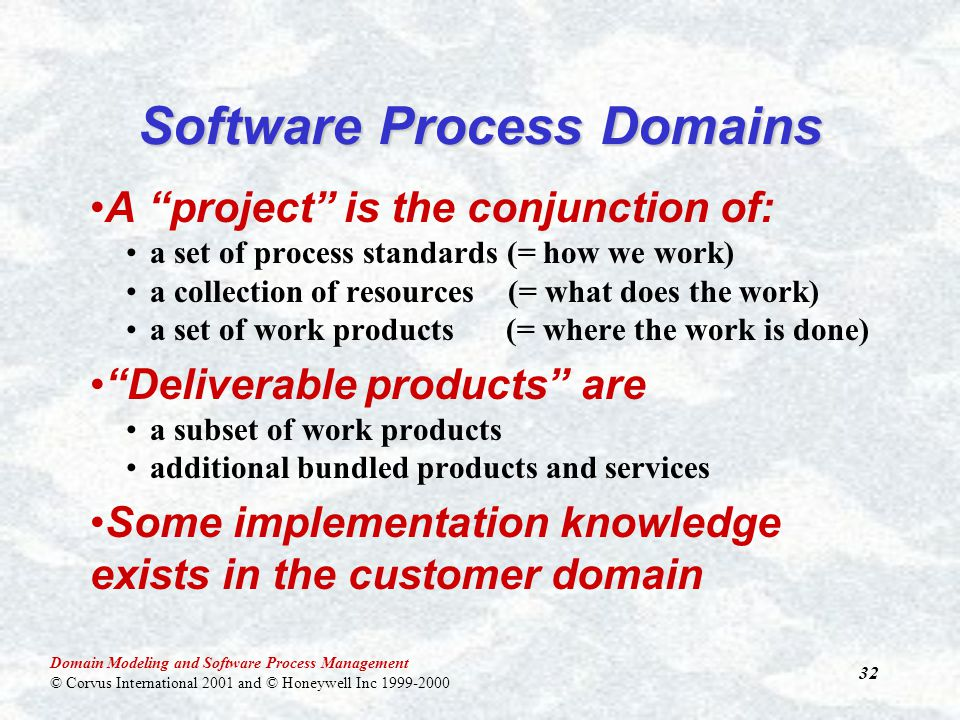 Domain Modeling and Software Process Management © Corvus International 2001 and © Honeywell Inc 1999-2000 32 Software Process Domains A project is the conjunction of: a set of process standards (= how we work) a collection of resources (= what does the work) a set of work products (= where the work is done) Deliverable products are a subset of work products additional bundled products and services Some implementation knowledge exists in the customer domain