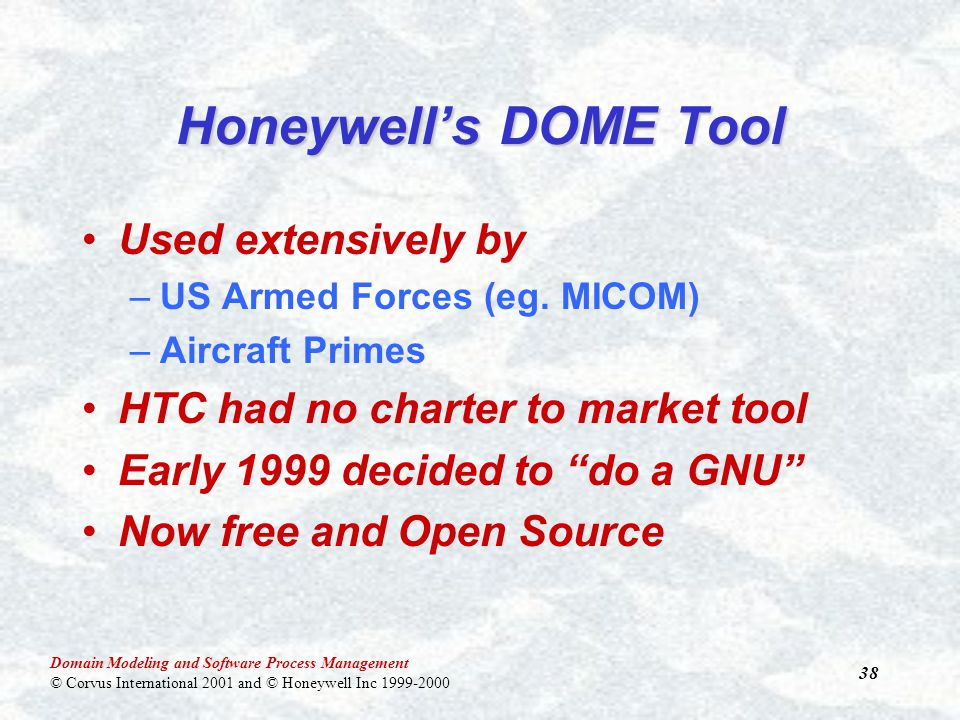 Domain Modeling and Software Process Management © Corvus International 2001 and © Honeywell Inc 1999-2000 38 Honeywell's DOME Tool Used extensively by –US Armed Forces (eg.