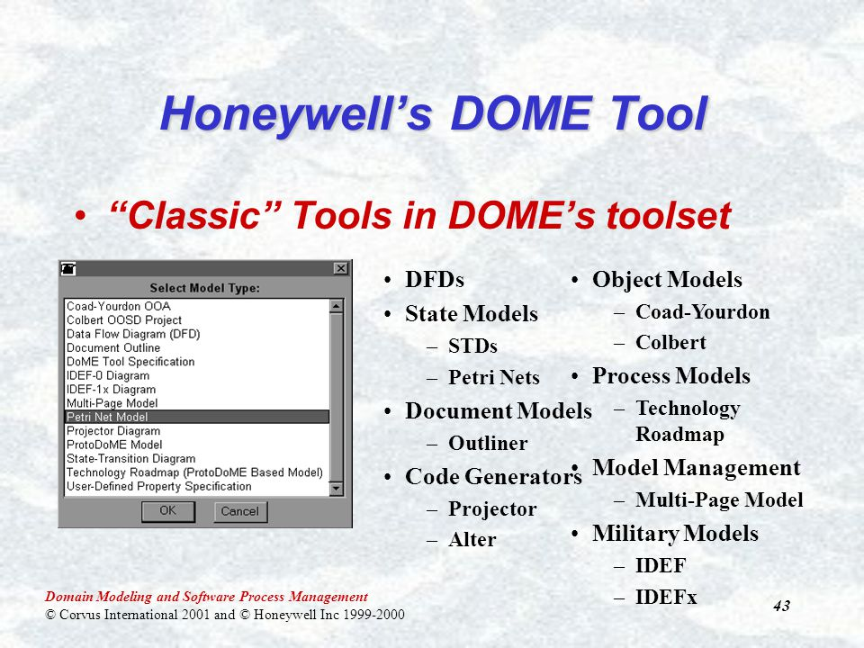 Domain Modeling and Software Process Management © Corvus International 2001 and © Honeywell Inc 1999-2000 43 Honeywell's DOME Tool Classic Tools in DOME's toolset DFDs State Models –STDs –Petri Nets Document Models –Outliner Code Generators –Projector –Alter Object Models –Coad-Yourdon –Colbert Process Models –Technology Roadmap Model Management –Multi-Page Model Military Models –IDEF –IDEFx