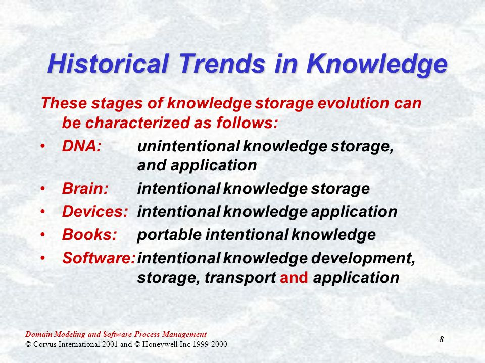 Domain Modeling and Software Process Management © Corvus International 2001 and © Honeywell Inc 1999-2000 8 These stages of knowledge storage evolution can be characterized as follows: DNA:unintentional knowledge storage, and application Brain: intentional knowledge storage Devices:intentional knowledge application Books:portable intentional knowledge Software:intentional knowledge development, storage, transport and application Historical Trends in Knowledge
