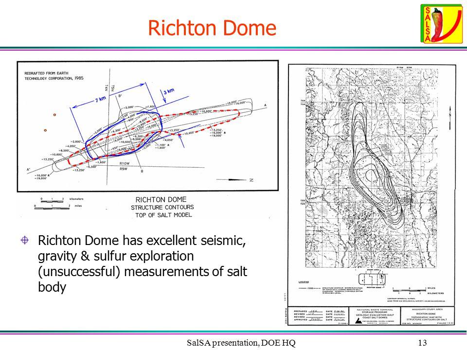 SalSA presentation, DOE HQ13 Richton Dome Richton Dome has excellent seismic, gravity & sulfur exploration (unsuccessful) measurements of salt body