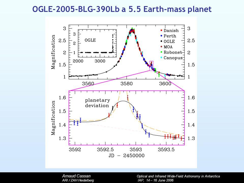 Arnaud Cassan Optical and Infrared Wide-Field Astronomy in Antarctica ARI / ZAH Heidelberg IAP, 14 – 16 June 2006 OGLE-2005-BLG-390Lb a 5.5 Earth-mass