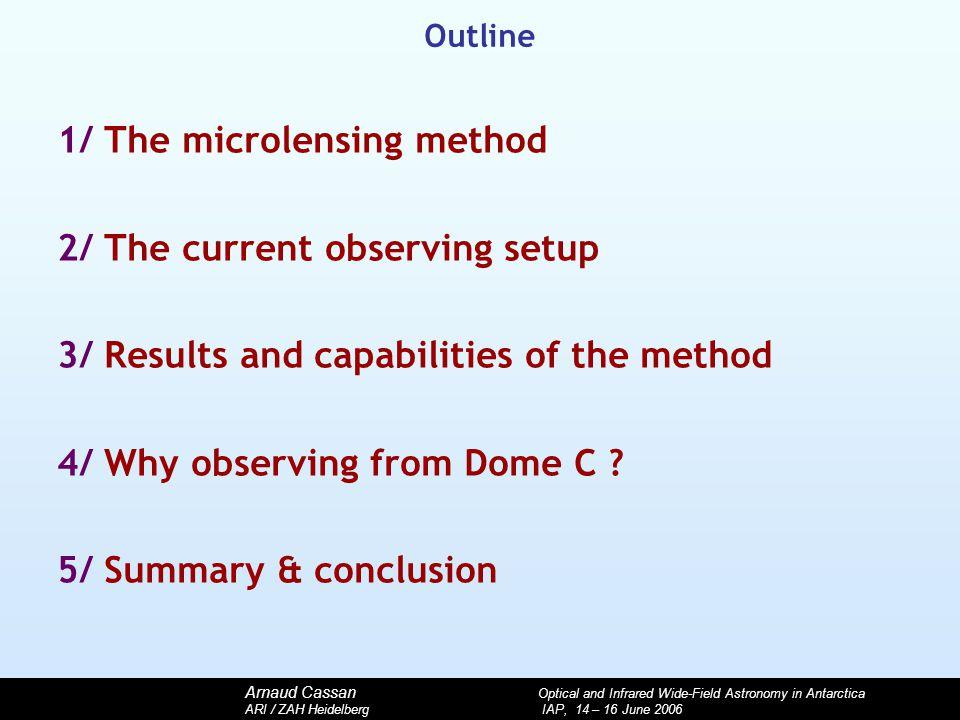 Arnaud Cassan Optical and Infrared Wide-Field Astronomy in Antarctica ARI / ZAH Heidelberg IAP, 14 – 16 June 2006 Outline 1/ The microlensing method 2