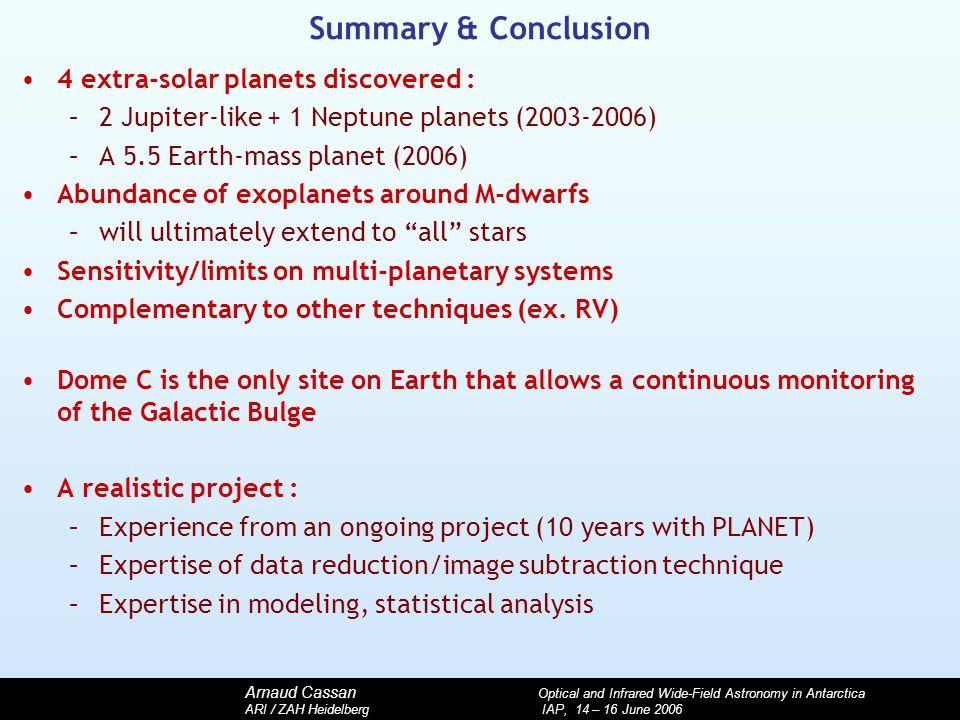 Arnaud Cassan Optical and Infrared Wide-Field Astronomy in Antarctica ARI / ZAH Heidelberg IAP, 14 – 16 June 2006 Summary & Conclusion 4 extra-solar p
