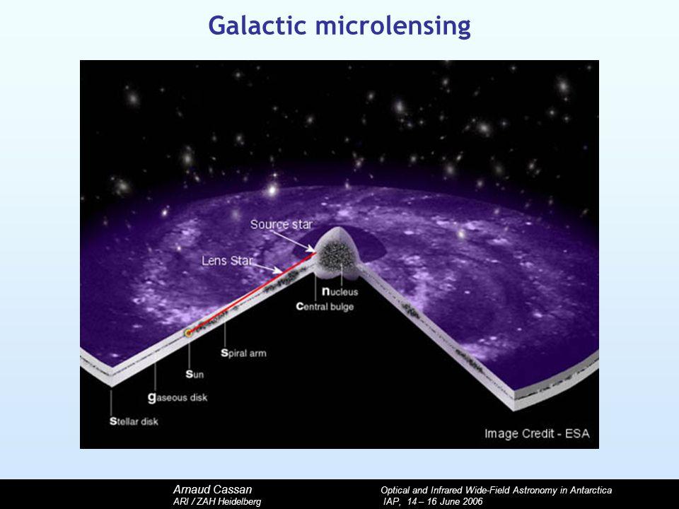 Arnaud Cassan Optical and Infrared Wide-Field Astronomy in Antarctica ARI / ZAH Heidelberg IAP, 14 – 16 June 2006 Galactic microlensing