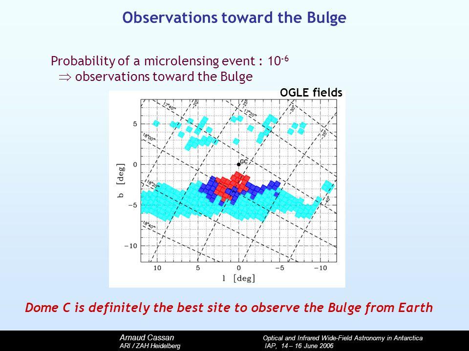 Arnaud Cassan Optical and Infrared Wide-Field Astronomy in Antarctica ARI / ZAH Heidelberg IAP, 14 – 16 June 2006 Observations toward the Bulge Probab