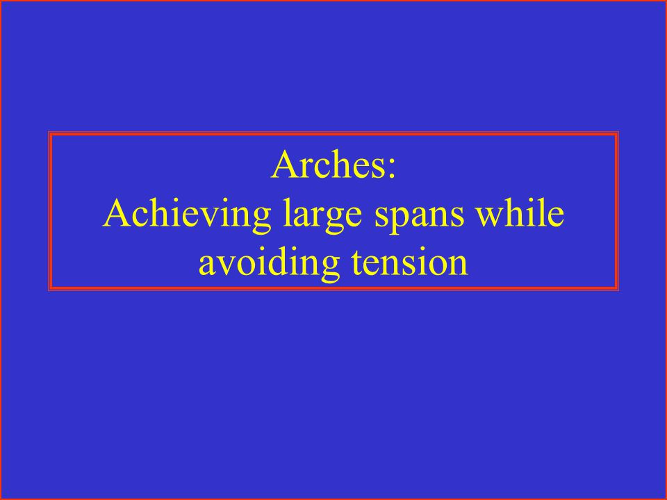 Arches: Achieving large spans while avoiding tension
