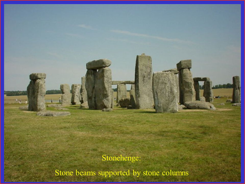 Stonehenge: Stone beams supported by stone columns