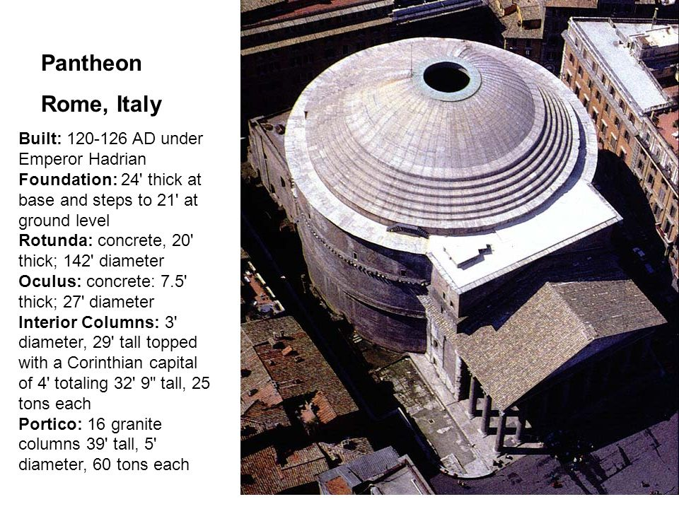Built: 120-126 AD under Emperor Hadrian Foundation: 24 thick at base and steps to 21 at ground level Rotunda: concrete, 20 thick; 142 diameter Oculus: concrete: 7.5 thick; 27 diameter Interior Columns: 3 diameter, 29 tall topped with a Corinthian capital of 4 totaling 32 9 tall, 25 tons each Portico: 16 granite columns 39 tall, 5 diameter, 60 tons each Pantheon Rome, Italy