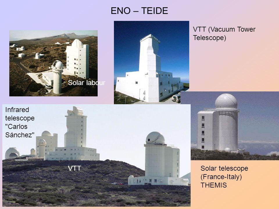 ENO – TEIDE Solar labour VTT Infrared telescope Carlos Sánchez Solar telescope (France-Italy) THEMIS VTT (Vacuum Tower Telescope)