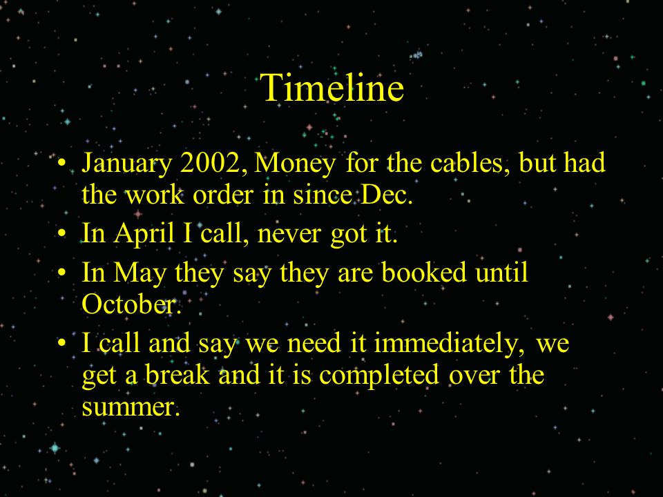 Timeline January 2002, Money for the cables, but had the work order in since Dec. In April I call, never got it. In May they say they are booked until