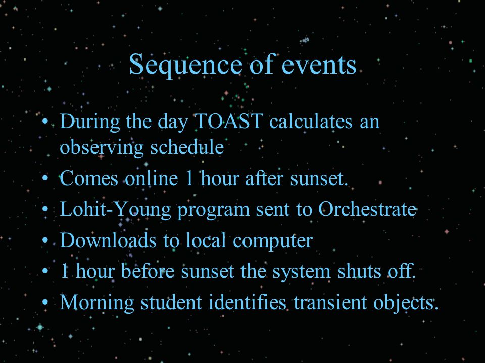 Sequence of events During the day TOAST calculates an observing schedule Comes online 1 hour after sunset. Lohit-Young program sent to Orchestrate Dow
