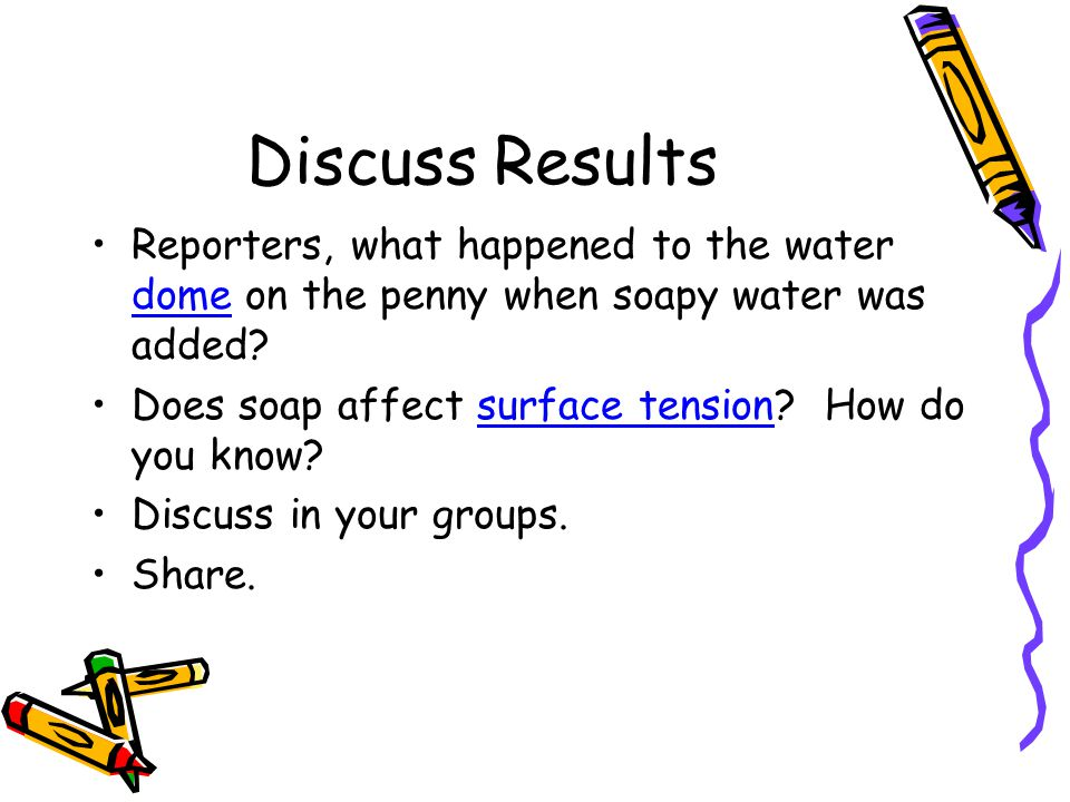 Discuss Results Reporters, what happened to the water dome on the penny when soapy water was added.