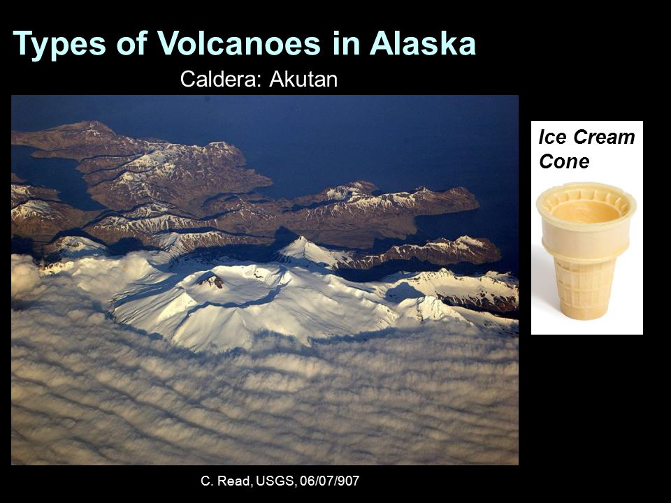 Types of Volcanoes in Alaska Caldera: Akutan C. Read, USGS, 06/07/907 Ice Cream Cone