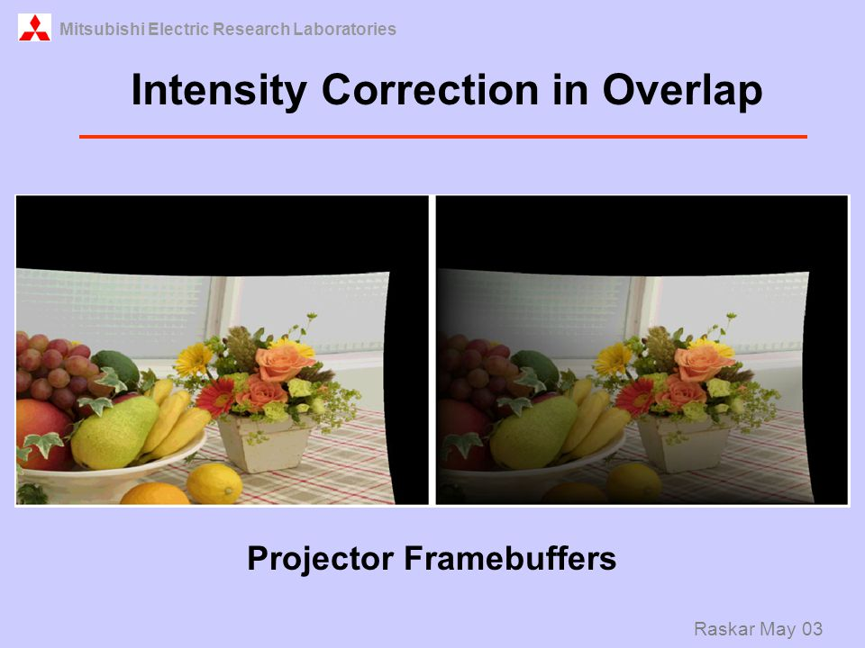 Mitsubishi Electric Research Laboratories Raskar May 03 Projector Framebuffers Intensity Correction in Overlap