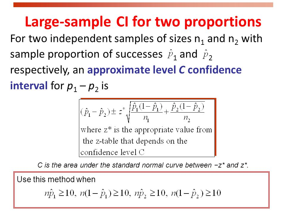 Comparing two independent samples We often need to estimate the difference p 1 – p 2 between two unknown population proportions based on independent s