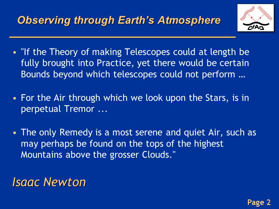 Page 2 Observing through Earth's Atmosphere