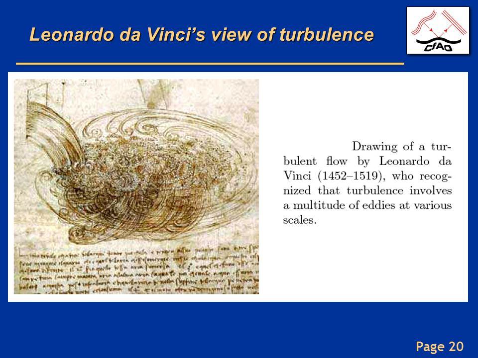 Page 20 Leonardo da Vinci's view of turbulence
