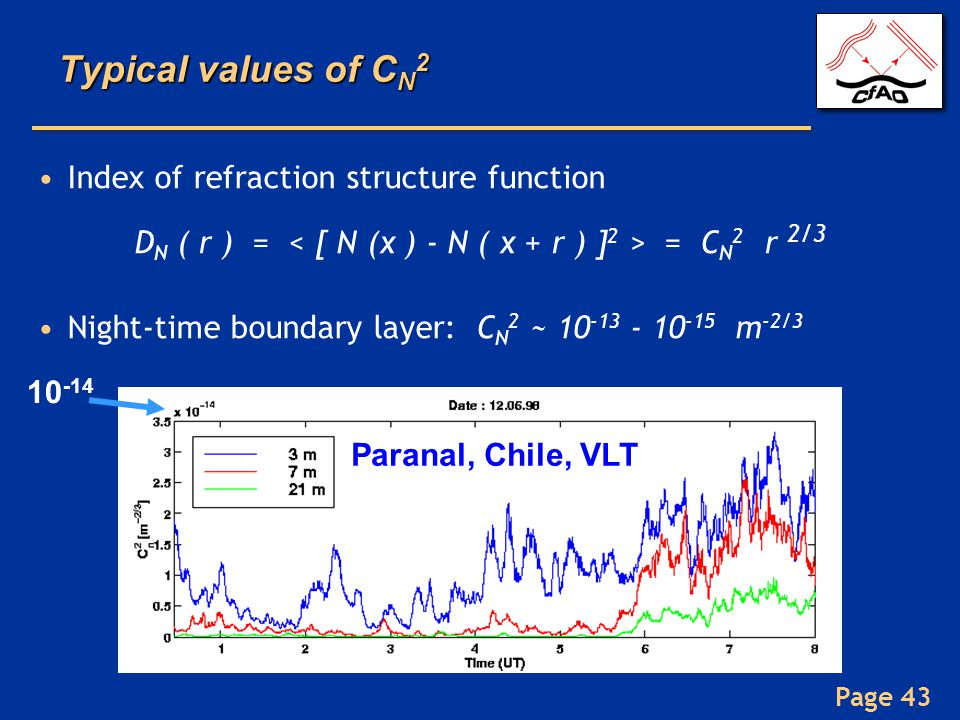 Page 43 Typical values of C N 2 Index of refraction structure function D N ( r ) = = C N 2 r 2/3 Night-time boundary layer: C N 2 ~ 10 -13 - 10 -15 m