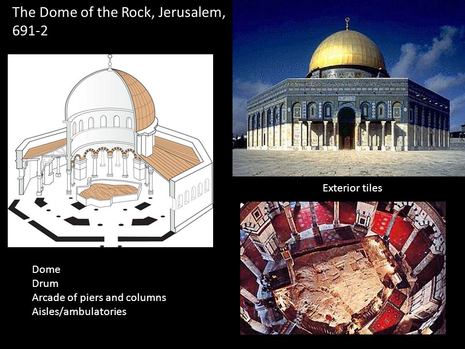 The Dome of the Rock, Jerusalem, 691-2 Dome Drum Arcade of piers and columns Aisles/ambulatories Exterior tiles