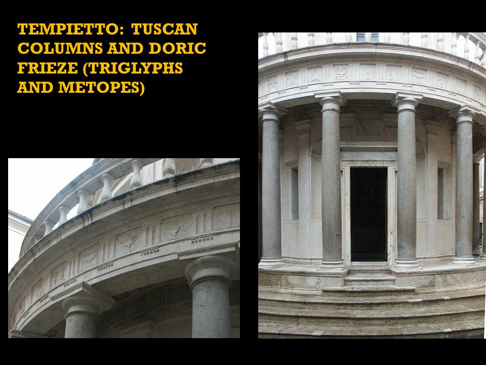 TEMPIETTO: BALUSTRADE, AND DRUM (ALTERNATING RECTANGULAR WINDOWS AND SHELL-CAPPED NICHES – LIGHT AND SHADOW!