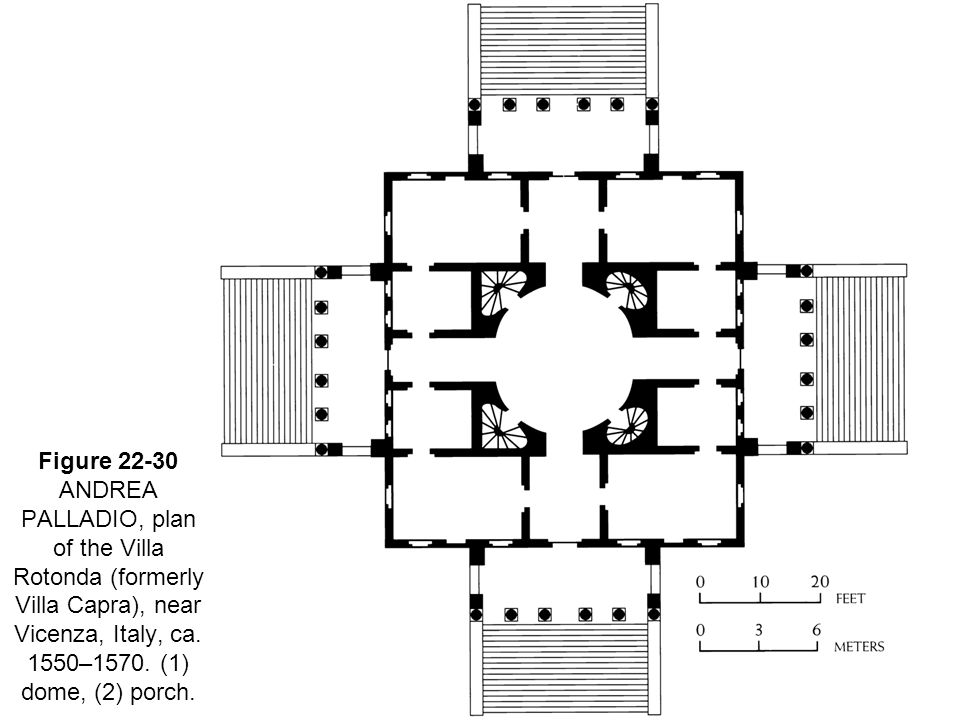 22 Figure 22-30 ANDREA PALLADIO, plan of the Villa Rotonda (formerly Villa Capra), near Vicenza, Italy, ca.