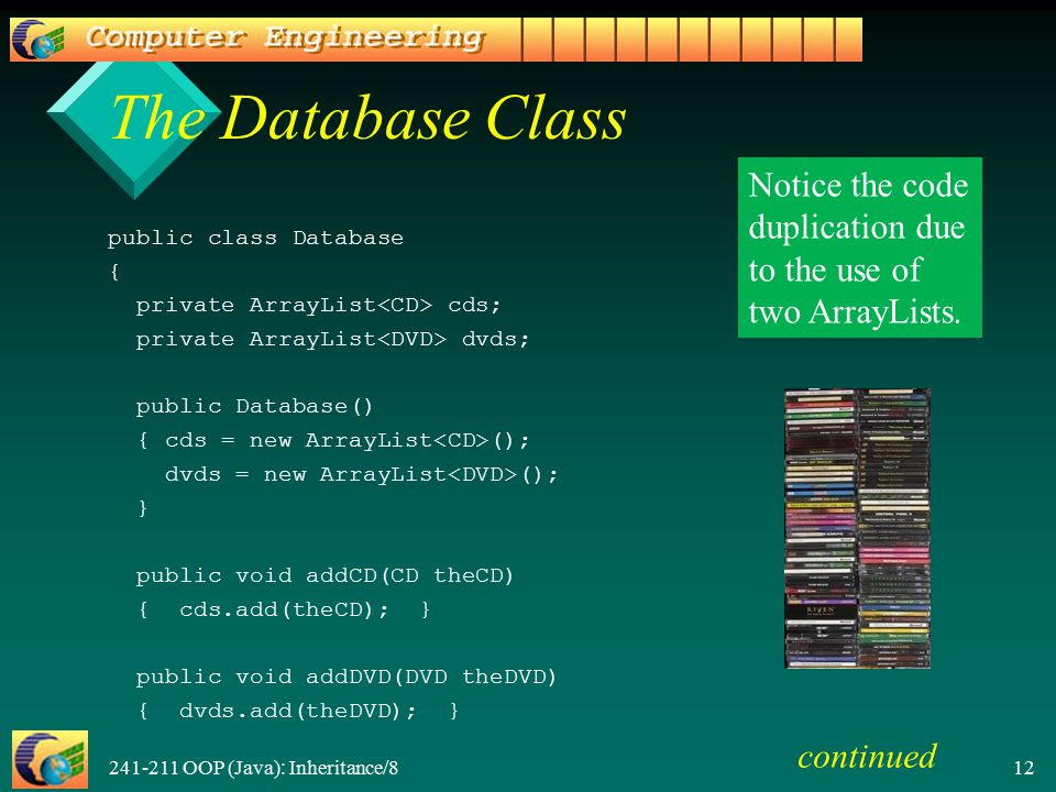 241-211 OOP (Java): Inheritance/8 12 The Database Class public class Database { private ArrayList cds; private ArrayList dvds; public Database() { cds = new ArrayList (); dvds = new ArrayList (); } public void addCD(CD theCD) { cds.add(theCD); } public void addDVD(DVD theDVD) { dvds.add(theDVD); } Notice the code duplication due to the use of two ArrayLists.
