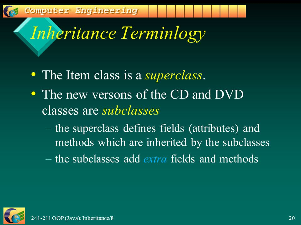241-211 OOP (Java): Inheritance/8 20 Inheritance Terminlogy The Item class is a superclass. The new versons of the CD and DVD classes are subclasses –