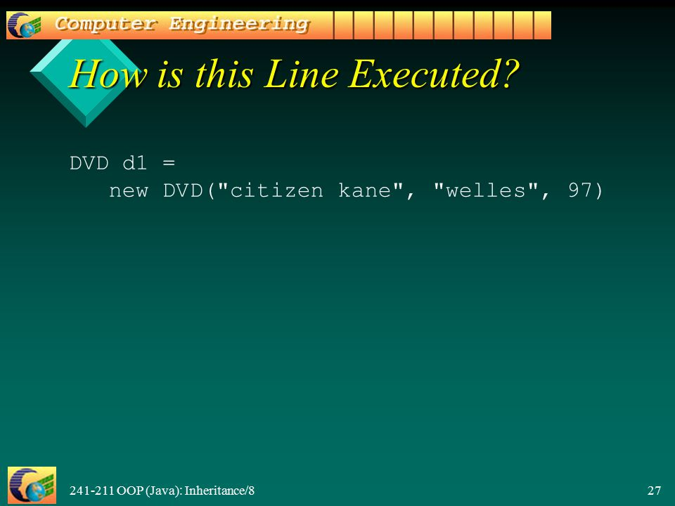 241-211 OOP (Java): Inheritance/8 27 How is this Line Executed.