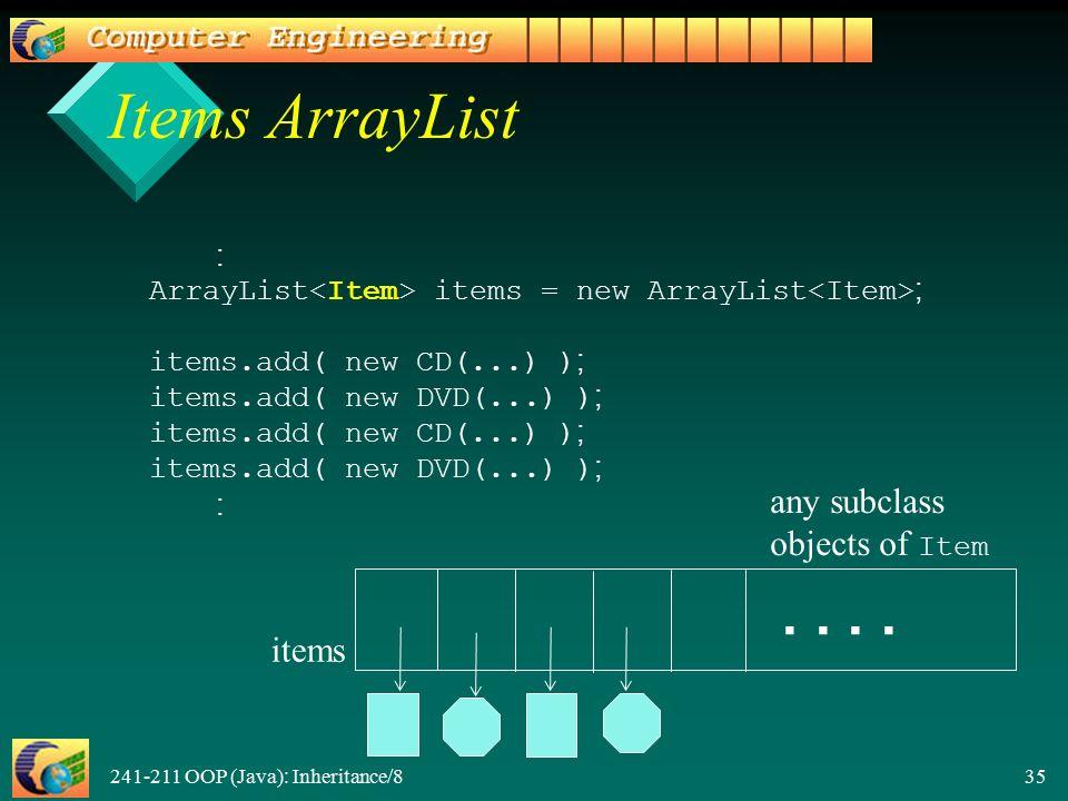 241-211 OOP (Java): Inheritance/8 35 Items ArrayList : ArrayList items = new ArrayList ; items.add( new CD(...) ); items.add( new DVD(...) ); items.add( new CD(...) ); items.add( new DVD(...) ); :..