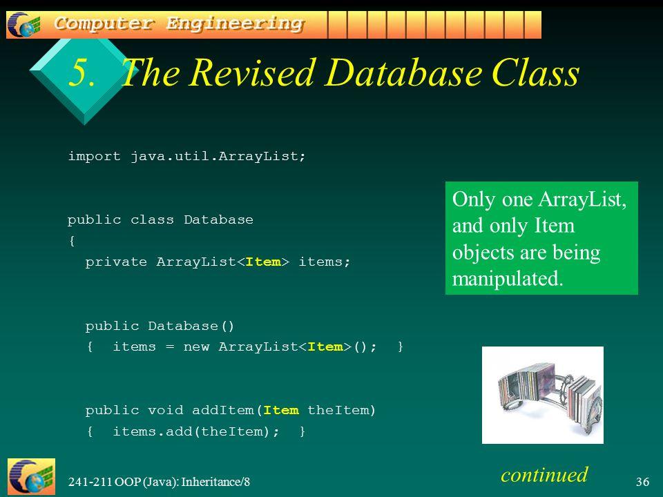 241-211 OOP (Java): Inheritance/8 36 5.