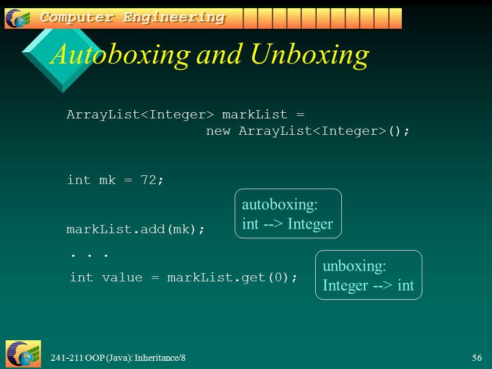 241-211 OOP (Java): Inheritance/8 56 Autoboxing and Unboxing ArrayList markList = new ArrayList (); int mk = 72; markList.add(mk);...