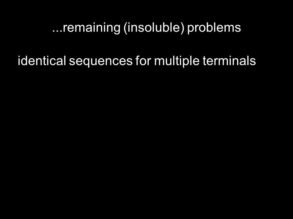 ...remaining (insoluble) problems identical sequences for multiple terminals shared alleles between terminals use allele frequency as a predictor?