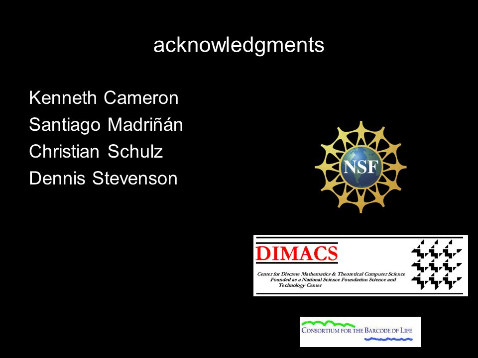 acknowledgments Kenneth Cameron Santiago Madriñán Christian Schulz Dennis Stevenson
