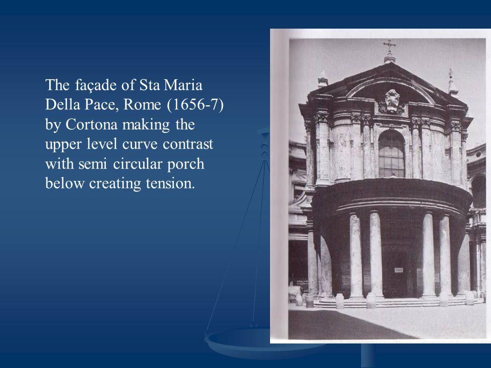 The façade of Sta Maria Della Pace, Rome (1656-7) by Cortona making the upper level curve contrast with semi circular porch below creating tension.
