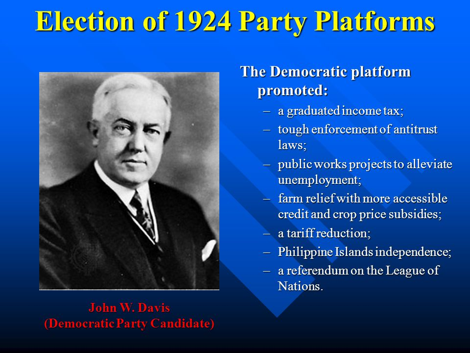 Election of 1924 Party Platforms The Republican platform endorsed the following: –support for tax reductions and the limitation on government's role i