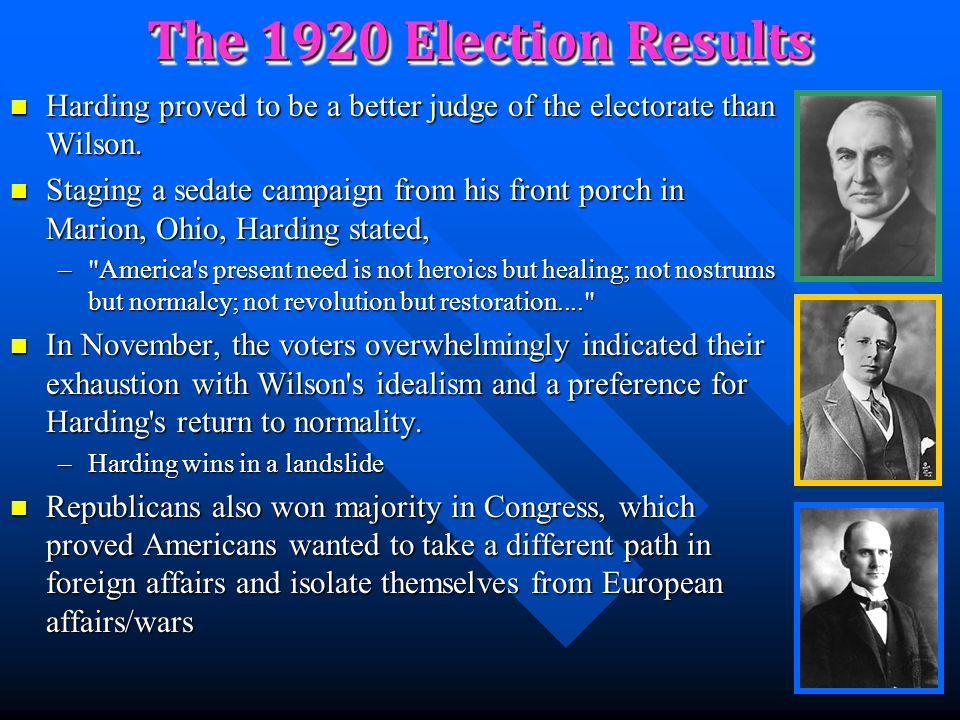 The 1920 Election Woodrow Wilson originally tried to run for a 3 rd term Woodrow Wilson originally tried to run for a 3 rd term –He lost the Democrati