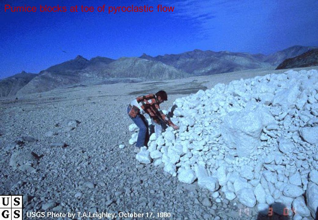 Pumice blocks at toe of pyroclastic flow