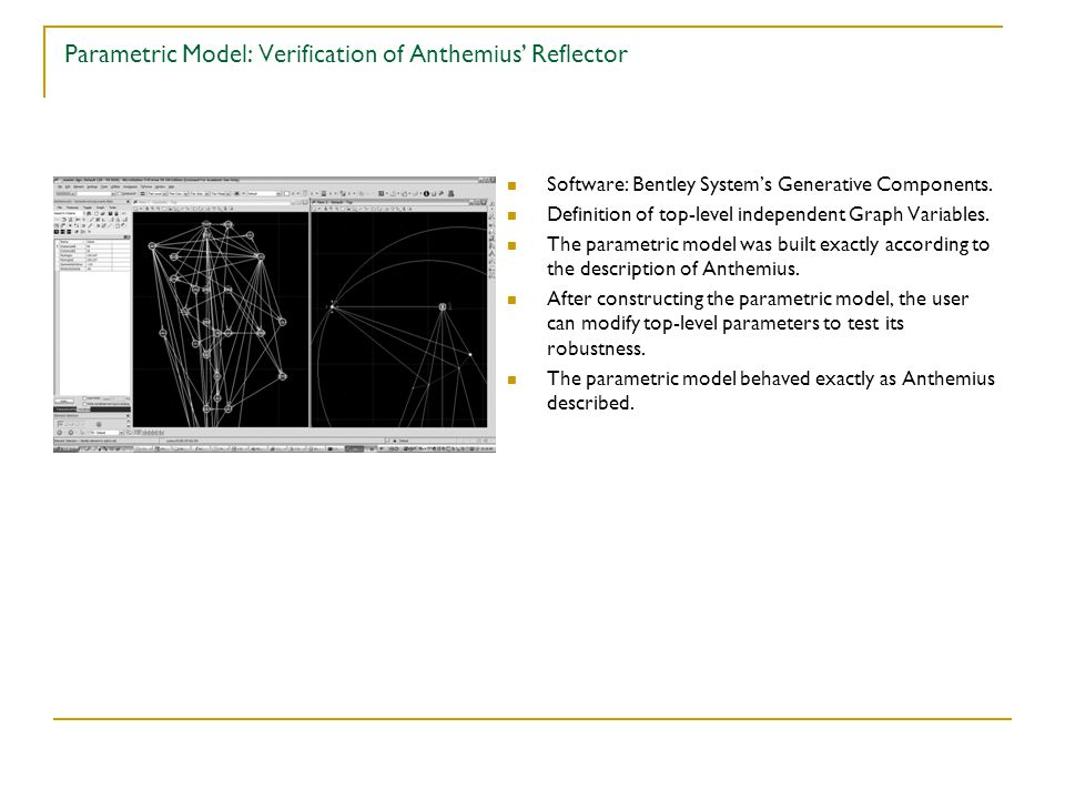 Parametric Model: Verification of Anthemius' Reflector Software: Bentley System's Generative Components.