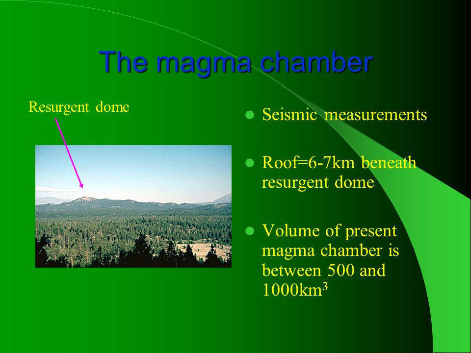 The magma chamber Seismic measurements Roof=6-7km beneath resurgent dome Volume of present magma chamber is between 500 and 1000km 3 Resurgent dome