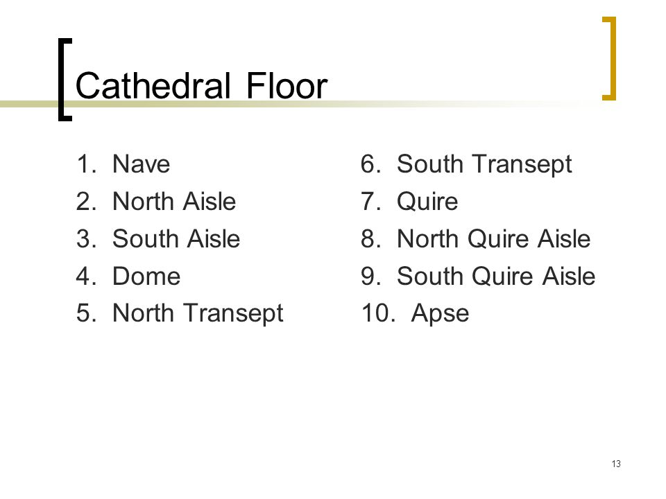 13 Cathedral Floor 1. Nave 2. North Aisle 3. South Aisle 4. Dome 5. North Transept 6. South Transept 7. Quire 8. North Quire Aisle 9. South Quire Aisl