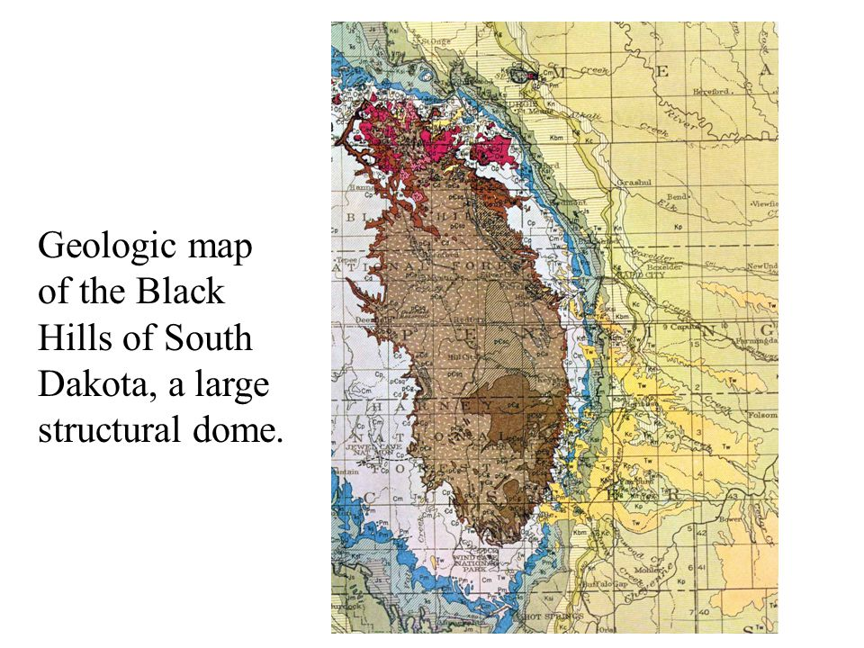 Geologic map of the Black Hills of South Dakota, a large structural dome.