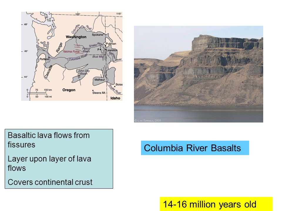 Basaltic lava flows from fissures Layer upon layer of lava flows Covers continental crust 14-16 million years old Columbia River Basalts