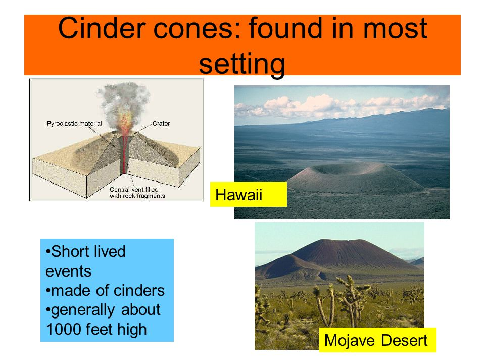 Cinder cones: found in most setting Hawaii Mojave Desert Short lived events made of cinders generally about 1000 feet high