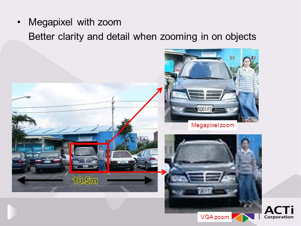 Megapixel with zoom Better clarity and detail when zooming in on objects VGA zoom Megapixel zoom