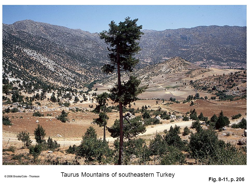 Fig. 8-11, p. 206 Taurus Mountains of southeastern Turkey