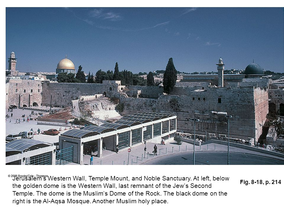 Fig. 8-18, p. 214 Jerusalem's Western Wall, Temple Mount, and Noble Sanctuary.