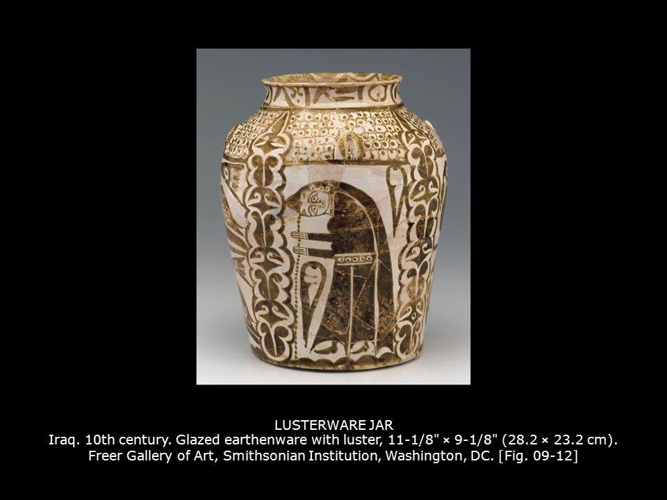 LUSTERWARE JAR Iraq. 10th century. Glazed earthenware with luster, 11-1/8