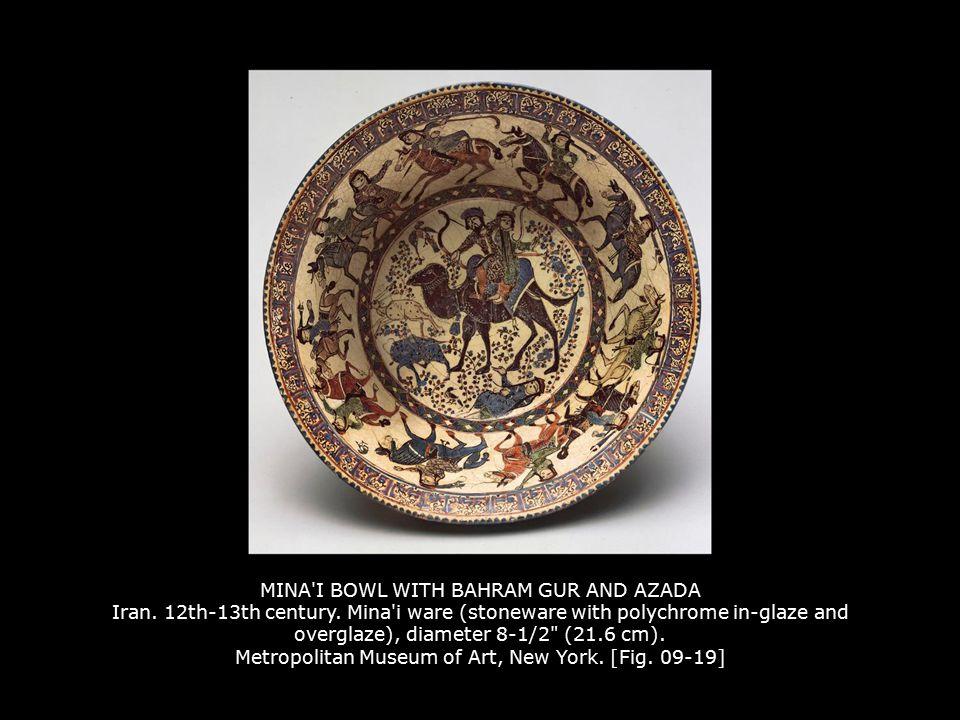 MINA'I BOWL WITH BAHRAM GUR AND AZADA Iran. 12th-13th century. Mina'i ware (stoneware with polychrome in-glaze and overglaze), diameter 8-1/2