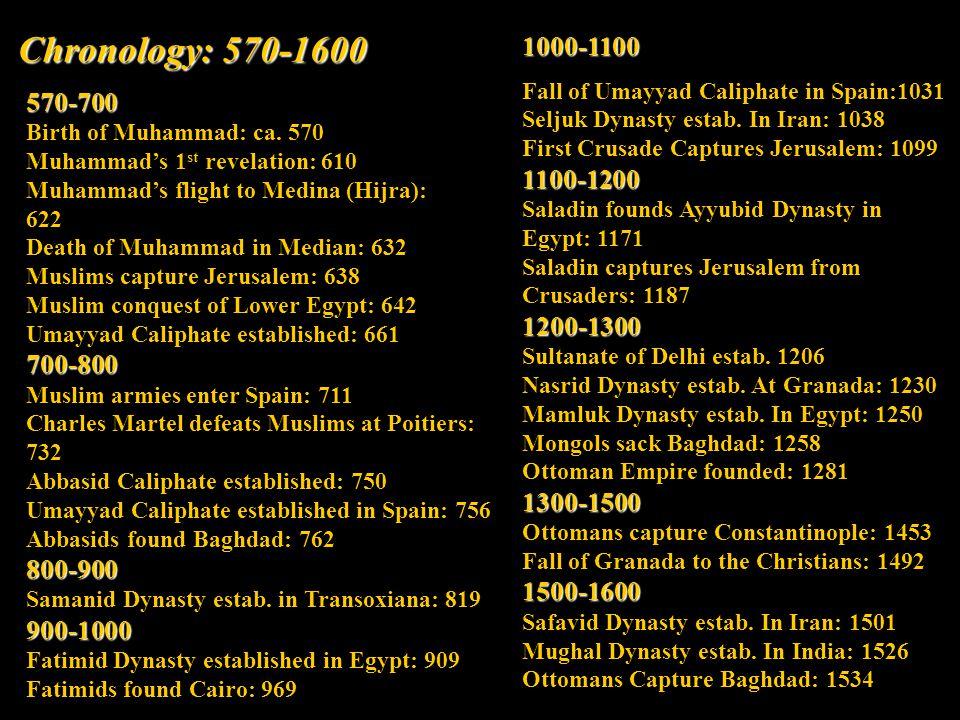 Chronology: 570-1600 570-700 Birth of Muhammad: ca.